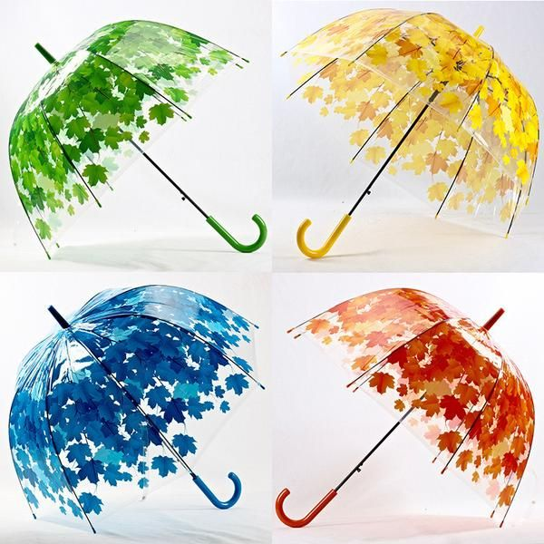 4 Colors Leaves Cage Umbrella Transparent Rainny Sunny Umbrella Parasol Cute Umbrella Women Cute Clear Paraguas Free Shipping #cuteumbrellas