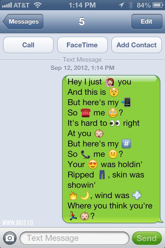 Popular Song Lyrics In Ios Emoticon Form Popular Song Lyrics Call Me Maybe Emoji Texts
