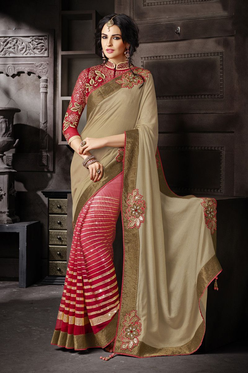 e2d812f91f CHIKU and RED embroidered georgette saree with blouse - Manjula Feb -  545711. Buy Banarsi Jamewar and Net Designer Saree Online in low price at  Variation.