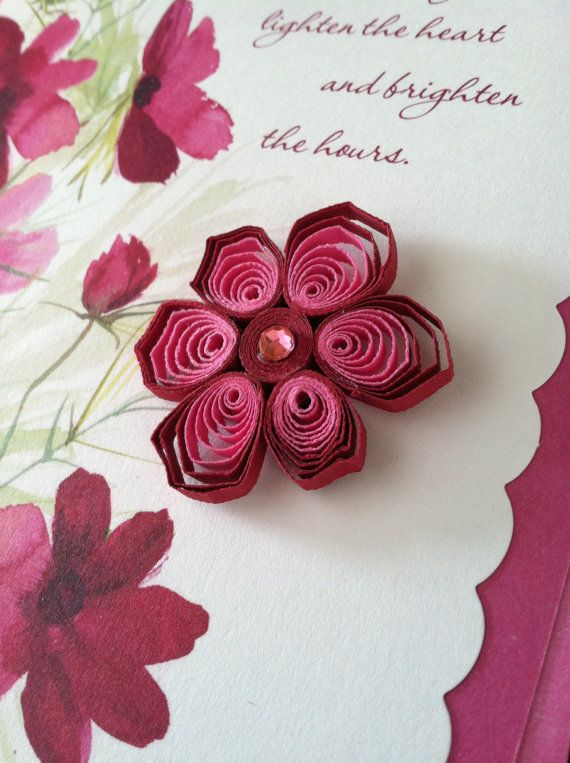 Valentines Day card removable quilled embellishment magnet on – Flower Valentine Card