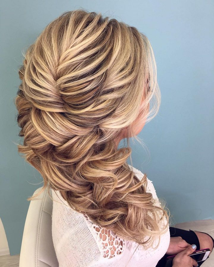 Texture & swept to side hairstyle | Swept back hairstyles ,wedding hairstyle ideas