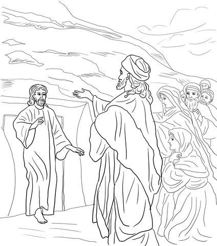 Jesus Raises Lazarus From The Dead Coloring Page Coloring Pages Bible Coloring Pages Raising Of Lazarus