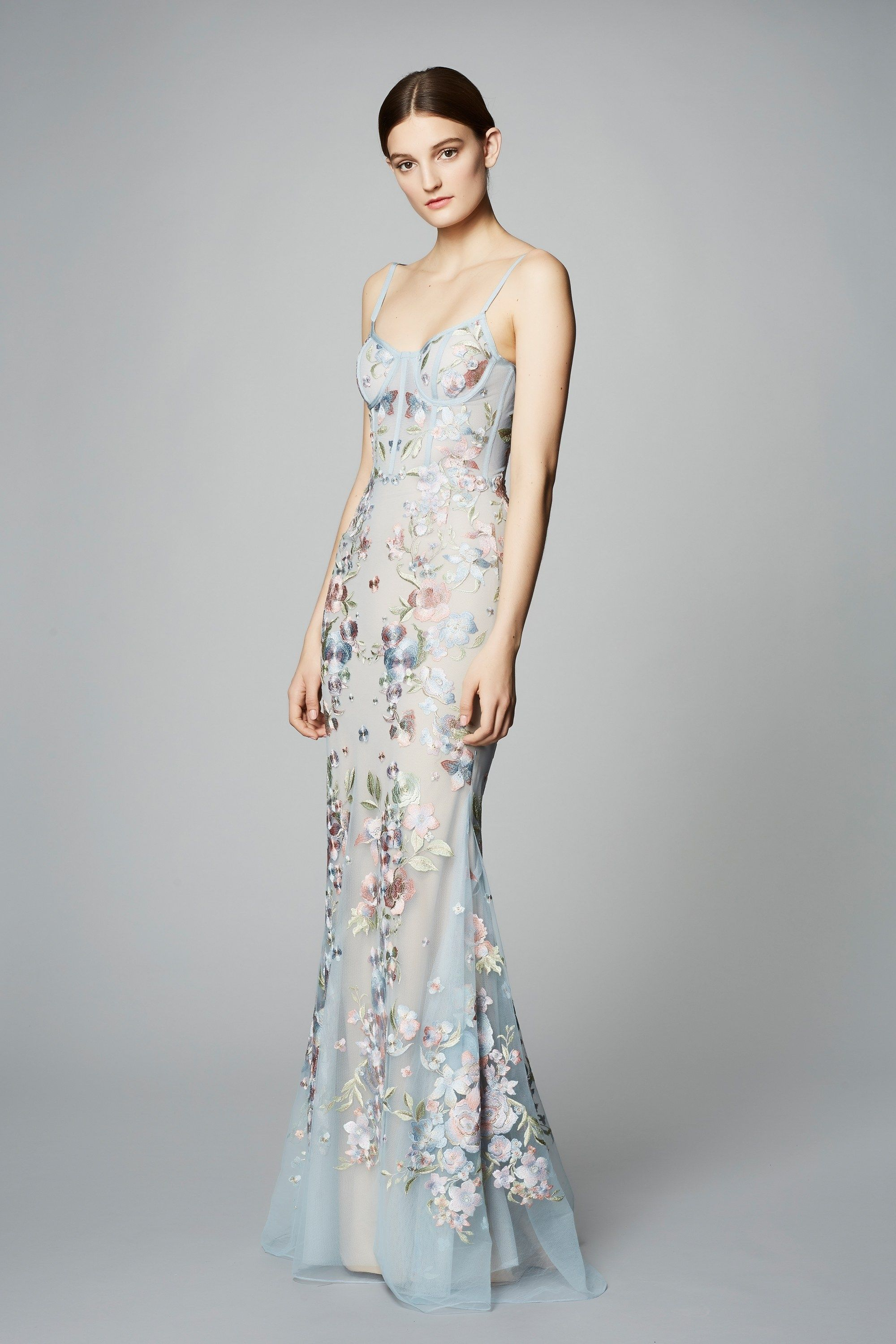 b11f62e8b6fd79 MARCHESA NOTTE SLEEVELESS EMBROIDERED TULLE GOWN.  marchesanotte  cloth