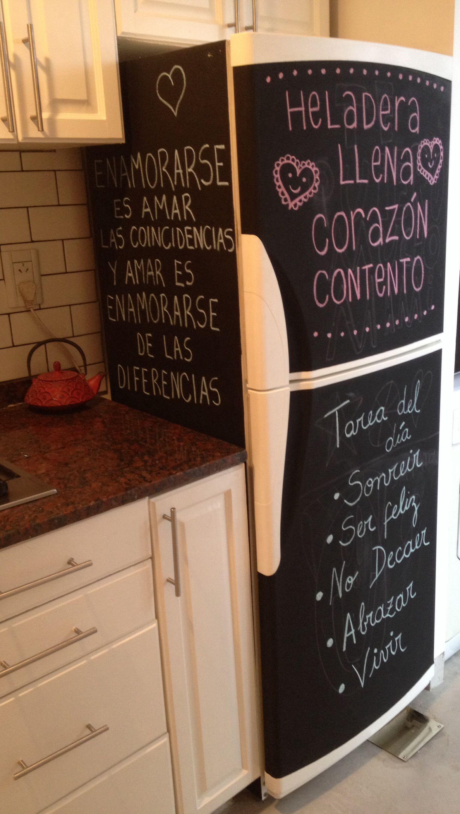 Heladera pintada con pintura pizarr n mi cocina llena de - Pintura para cocina ...