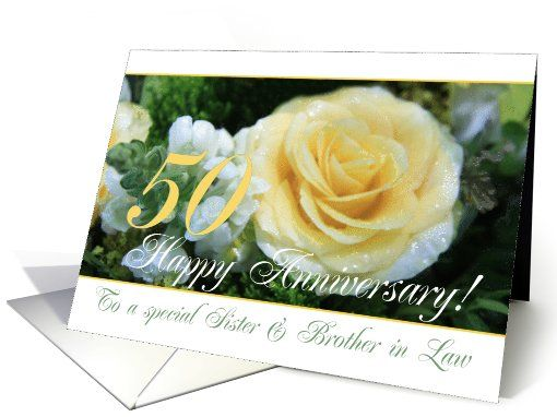 50th wedding anniversary card for sister & brother in law yellow