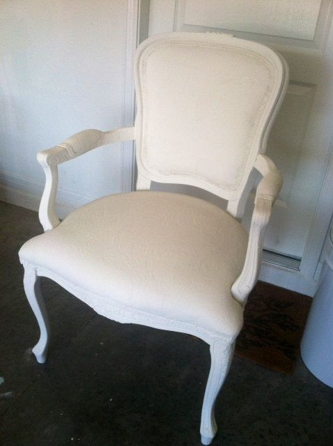High Quality Antique/Vintage Queen Anne Chair In White By JellyBeanVintagecom, $350.00