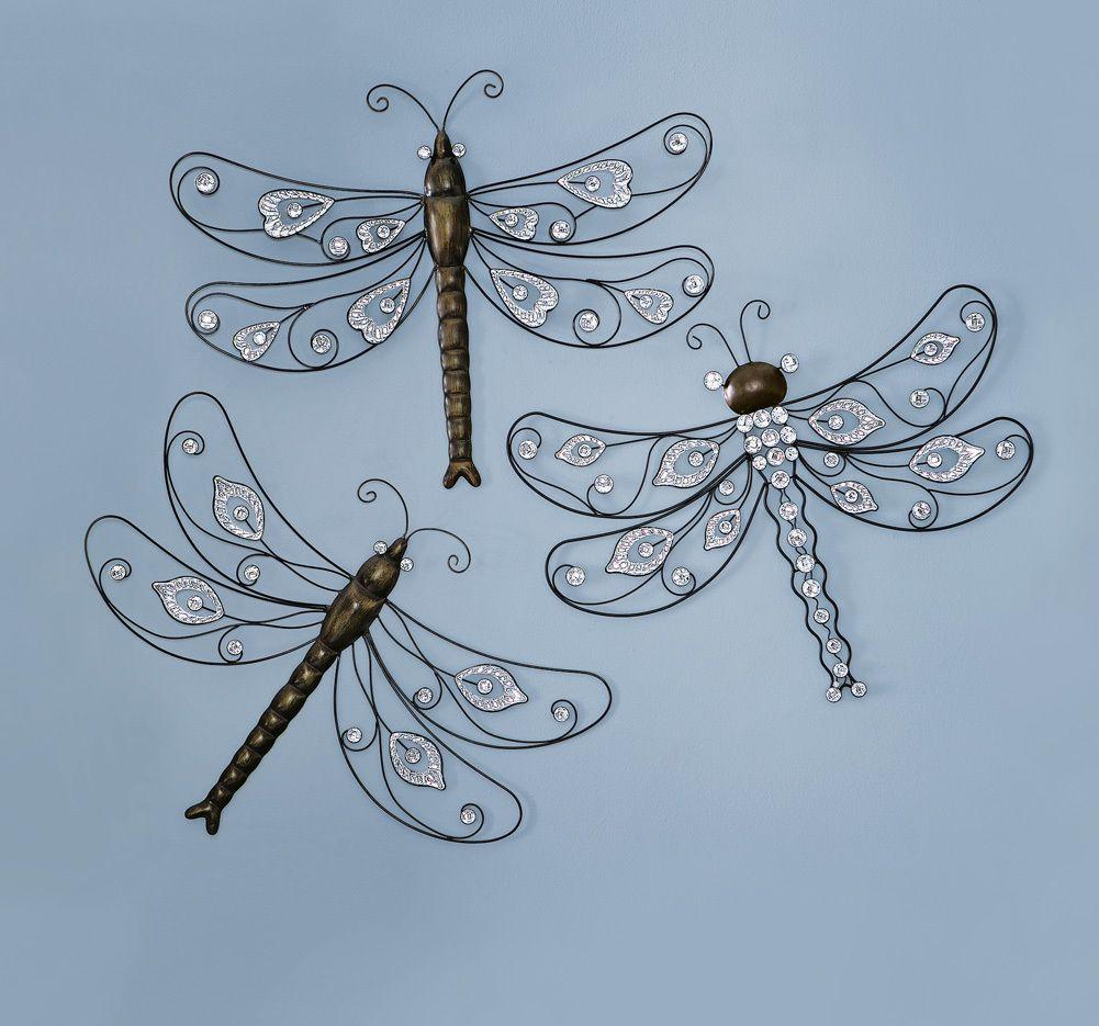 3 Pc Flying Dragonflies Metal Wall Art Home Decor