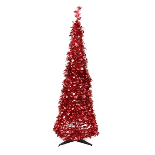 Silver Tinsel Pop Up Christmas Tree: Northlight 6 Ft. Pre Lit Tinsel Pop Up Christmas Tree