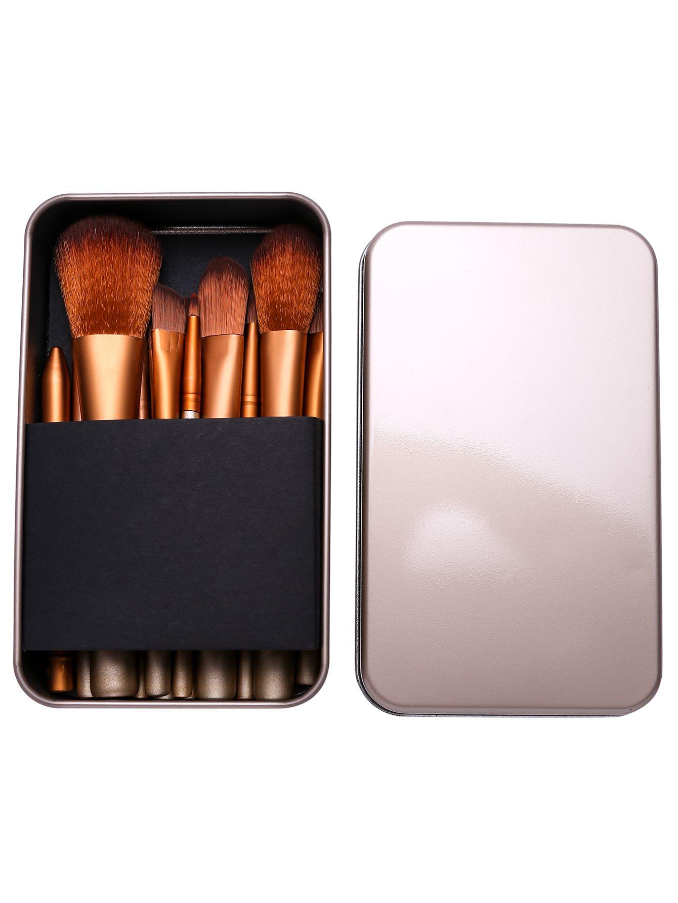 12PCS Gold Professional Makeup Brush Set With Metal Box  586cb4988
