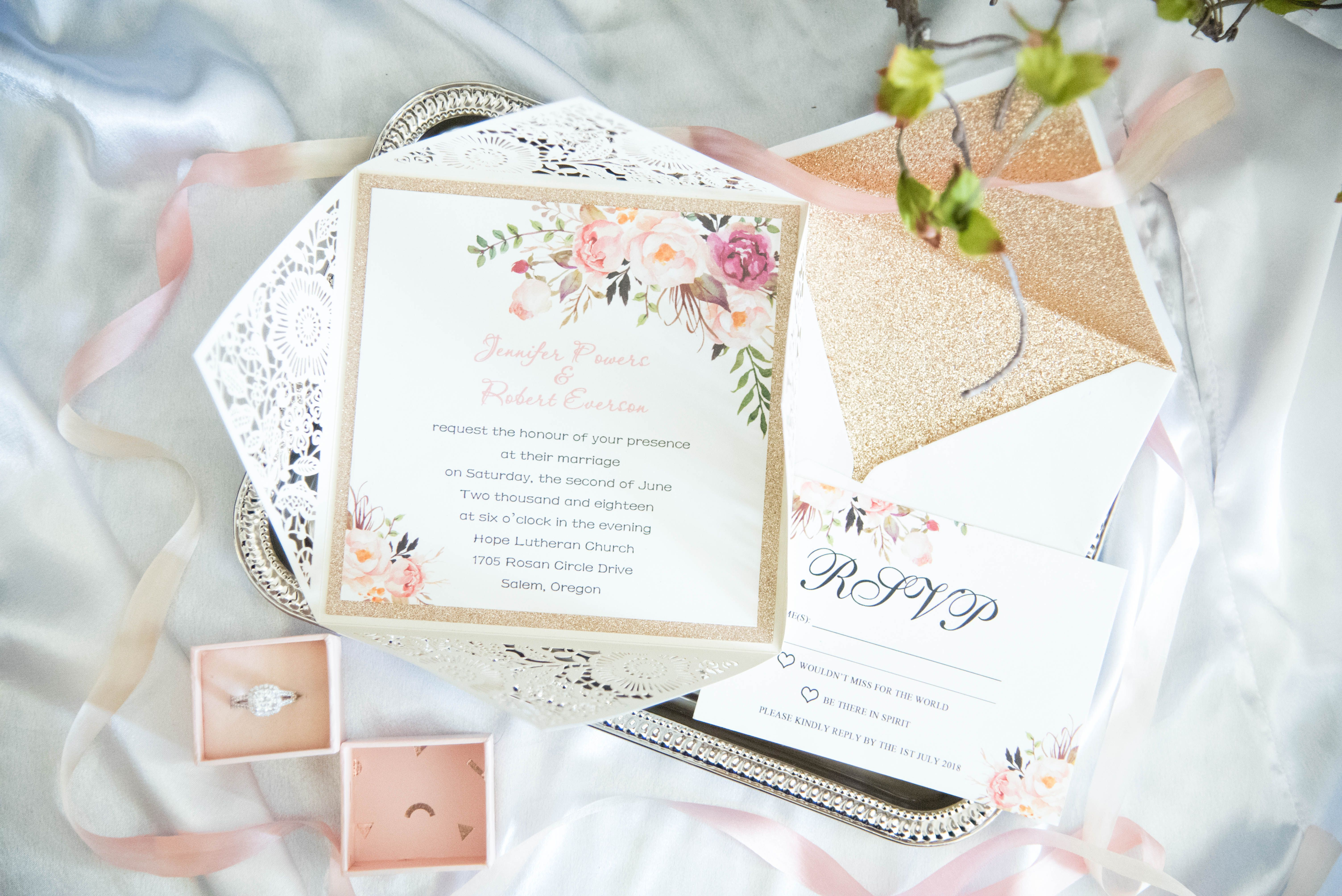 Blush pink and gold wedding invitations suite. Gold glitter envelope ...