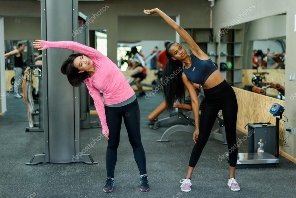 Slim Black African American Fitness Instructor And Asian Lovely Woman Doing Exer Sponsored Amer Black African American African American Fitness Instructor