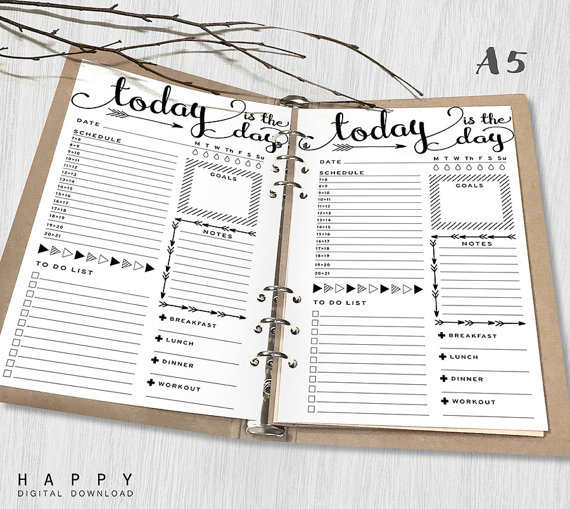 graphic relating to Daily Planner Notebook named Printable Day by day Planner Inserts, A5 Every day Planner, Printable