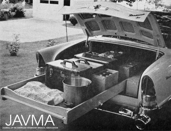 #ThrowbackThursday - This was what a mobile medical and surgical supply looked like in 1956: the converted trunk of a '55 Packard 400 hardtop. https://www.avma.org/News/JAVMANews/Pages/151015f.aspx?utm_source=pinterest&utm_medium=socmed&utm_campaign=vethistory