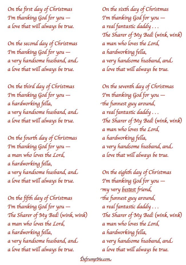 Defrump Me The 12 Days Of Christmas Love Notes For Your Spouse Christmas Love Christmas Humor 12 Days Of Christmas