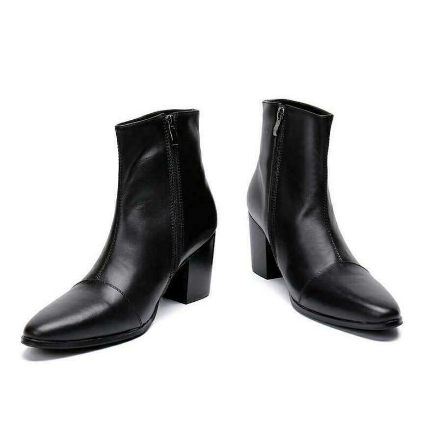 Men Pointy Toe Business Real Leather Ankle Boot High Top Chelsea Shoes Star Pump