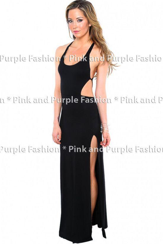 f45badc99 Vestido Longo Em Viscolycra Com Fenda E Recortes De Diamante - R$ 129,90