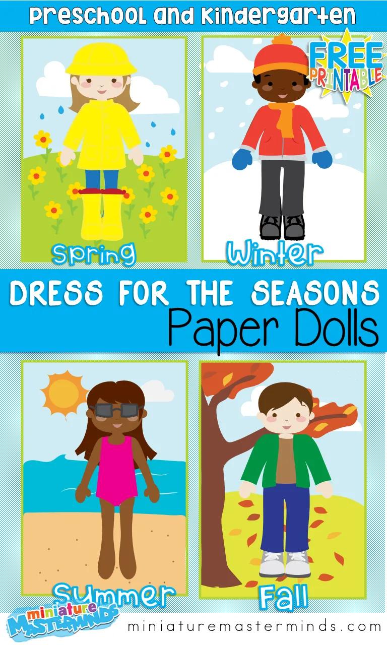 Dress For The Seasons Paper Dolls  Seasons activities, Seasons