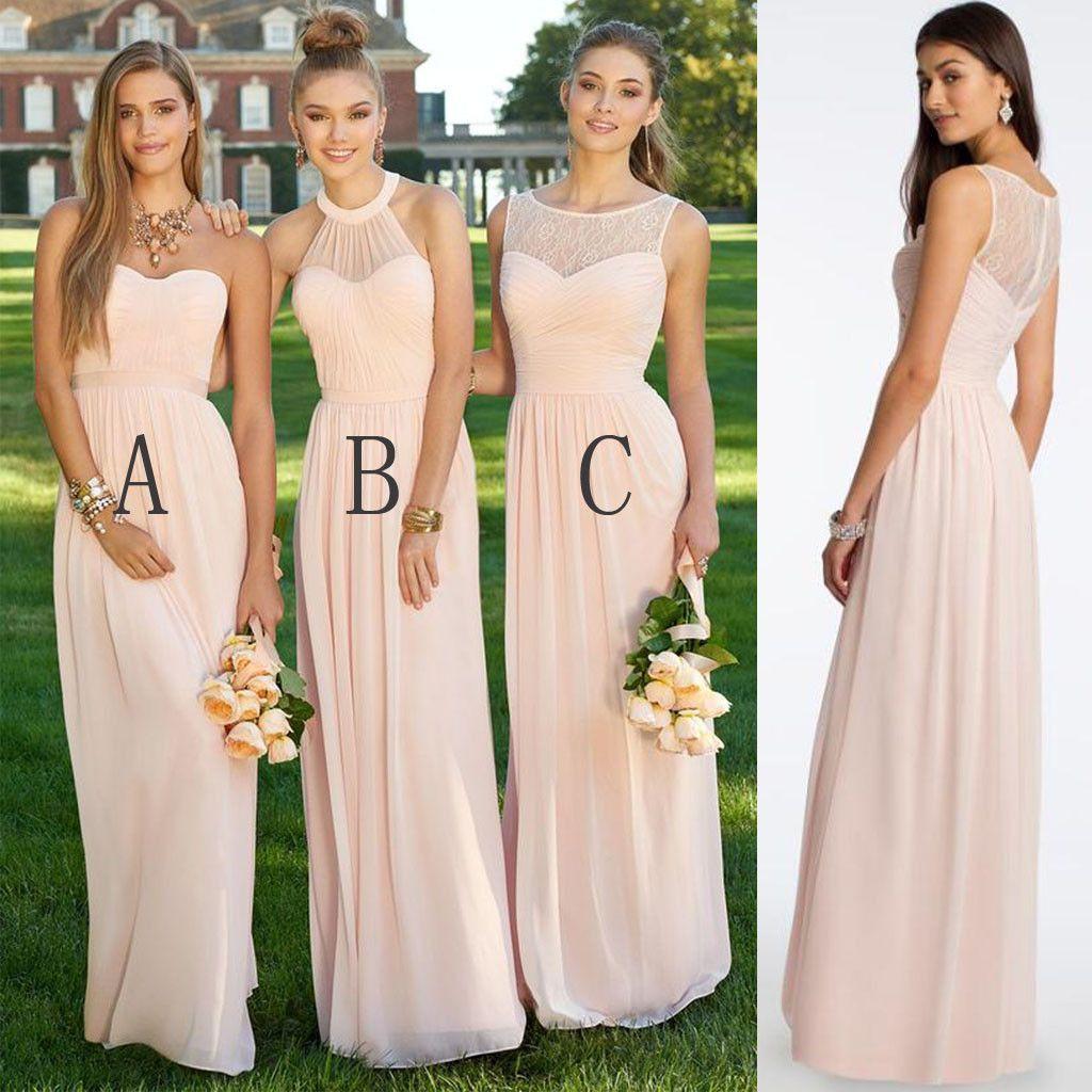 Mismatched different styles chiffon blush pink modern formal floor