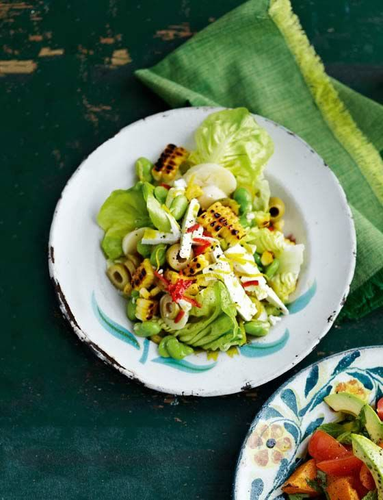 Spicy broad bean, corn and olive salad