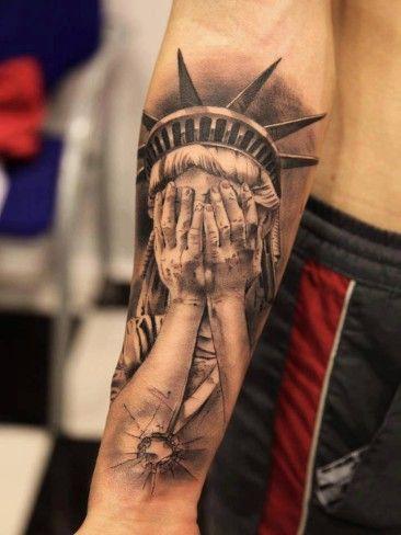 Tatuaż Statua Wolności Zakrywa Twarz Tattoo Statue Of