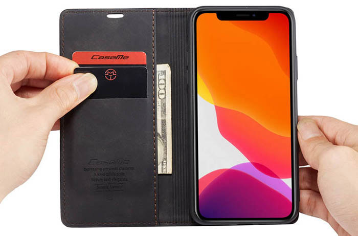 CaseMe iPhone 11 Pro Wallet Kickstand Case Black