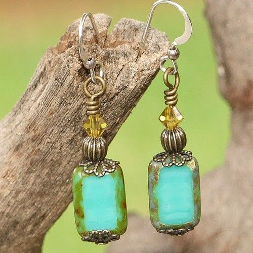 Turquoise Czech Glass & brass hand made earrings