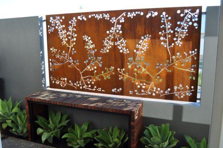 brise vue en acier rouill palissade acier rouill pinterest brise vue jardin acier. Black Bedroom Furniture Sets. Home Design Ideas