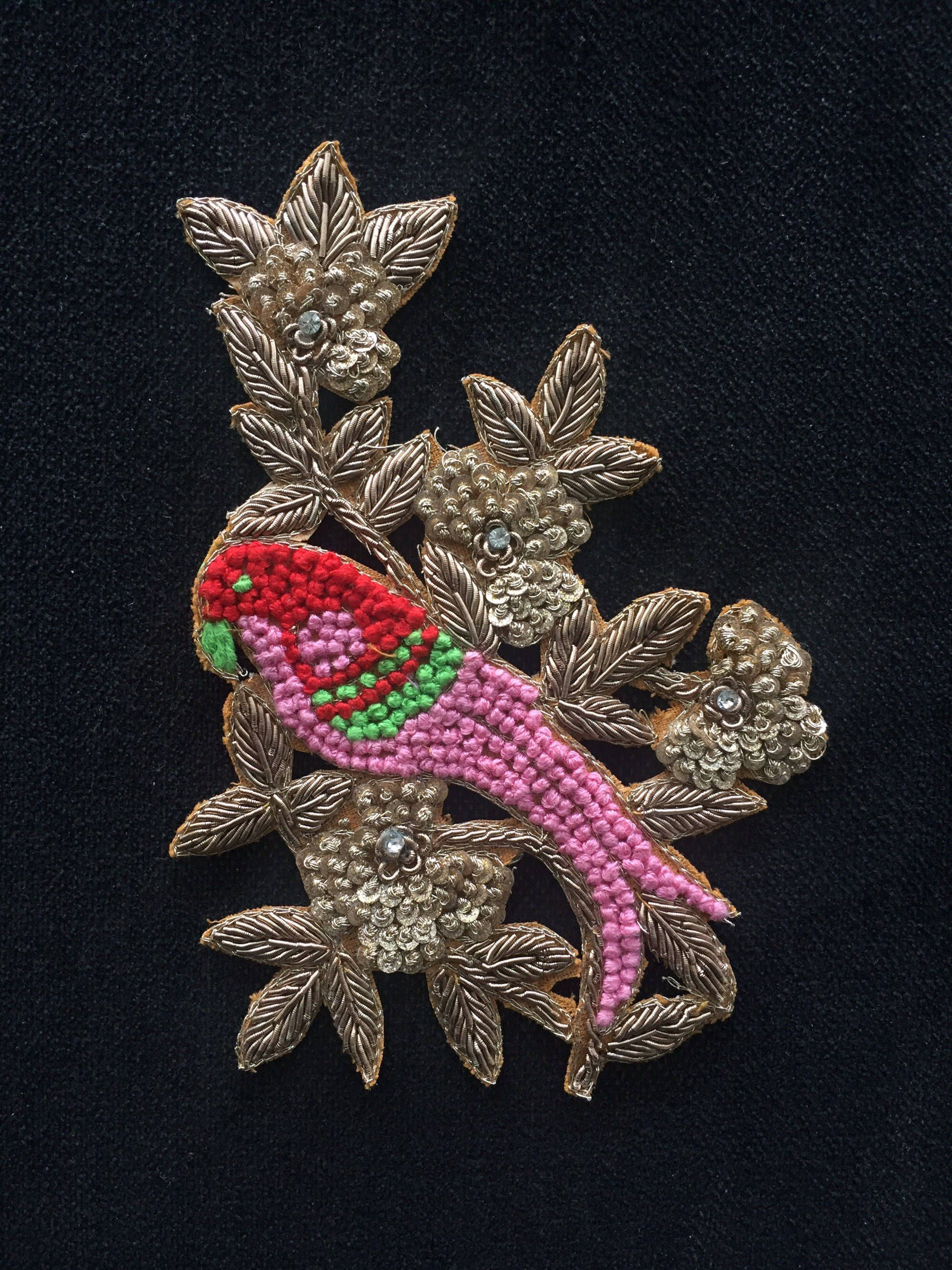 Golden Line Peacock Embroidery Patch Hand Sewing On Pattches Applique DIY Craft