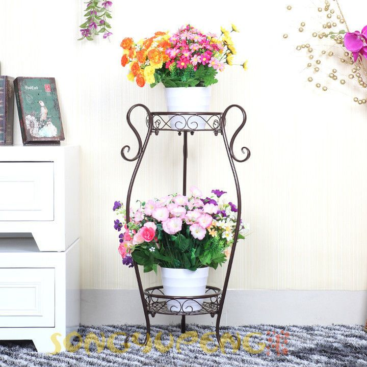 Metal Floor Standing Wrought Iron Pot Plant Stand Flower Planter 8
