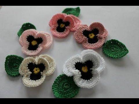 Flor Pensamiento (Pansy) tejida en crochet - YouTube   Stricken ...