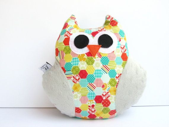 Owl Pillow, Owl Pillow Toy , Plush Stuffed Owl Toy handmade,baby shower gift, colorful tiles pattern
