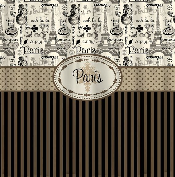 Personalized Vintage Paris And Stripe Shower Curtain   Lt Brown, Tan, Taupe  U0026 Black