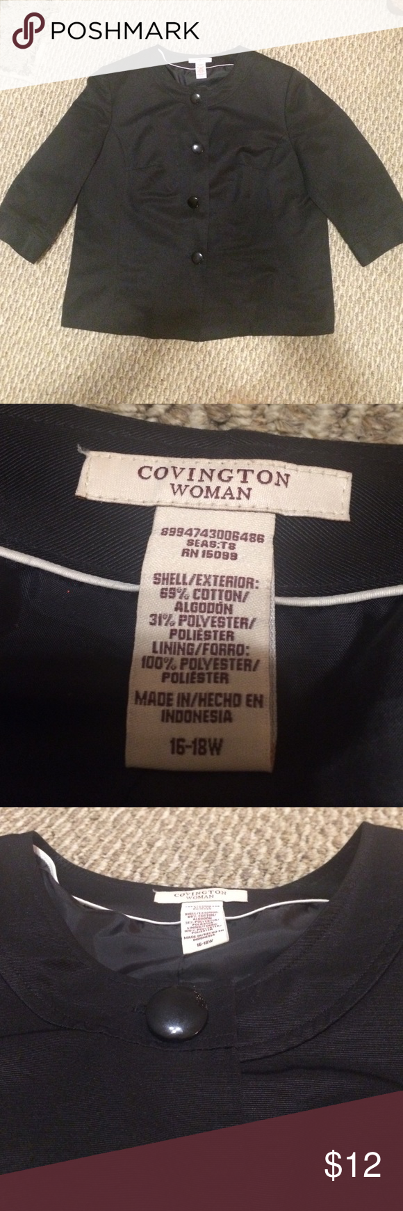 Covington Woman Black Blazer Cotton/Polyester Blend. Great condition. Barely worn. 3/4 Sleeve. Covington Jackets & Coats Blazers
