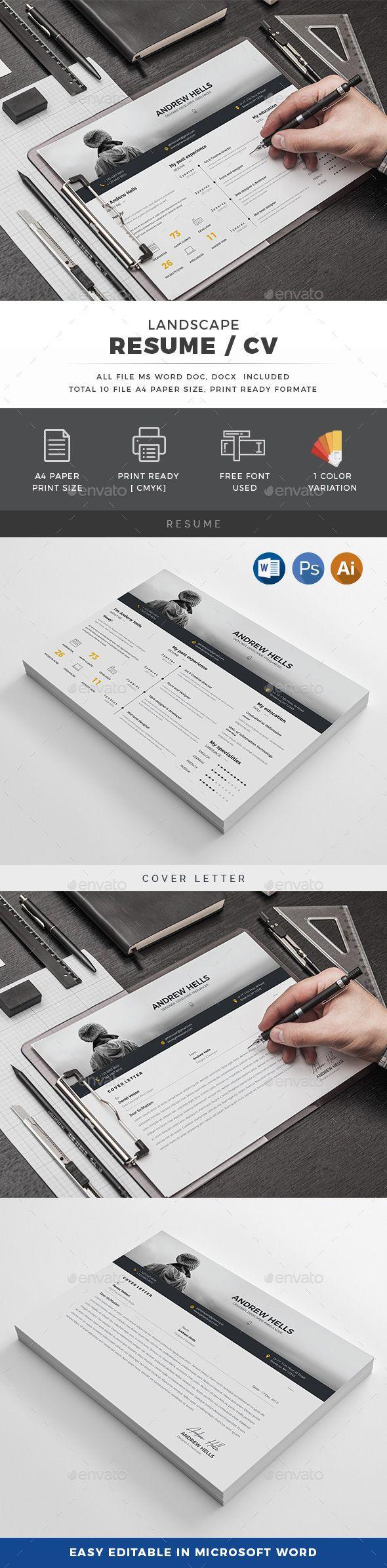 Landscape Resume/CV — Photoshop PSD #clean cv #cover letter ...