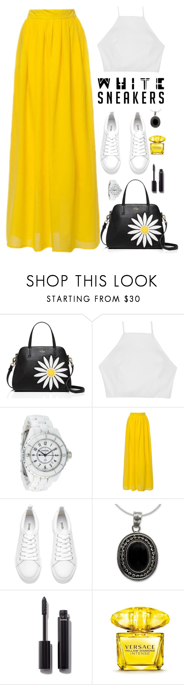 """White  Sneakers "" by samah ❤ liked on Polyvore featuring Kate Spade, rag & bone, Chanel, NOVICA and Versace"