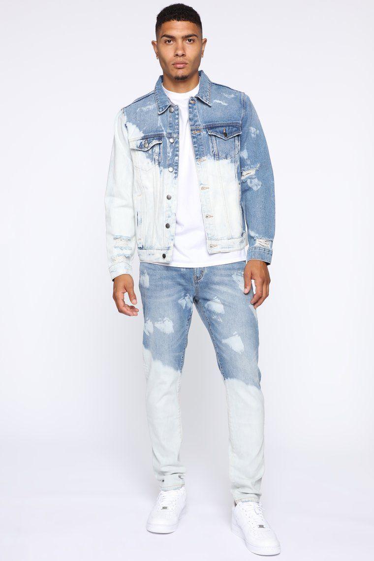 Bleach Bod Denim Jacket Bleachbluewash In 2020 Denim Outfit Men White Denim Jacket Outfit Bleached Denim Jacket