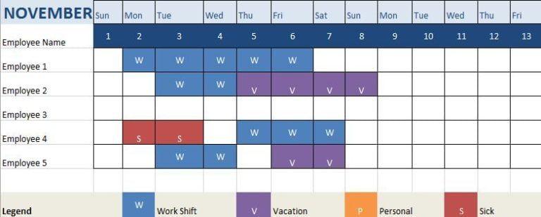 6 Employee Attendance Tracker Templates Schedule Template