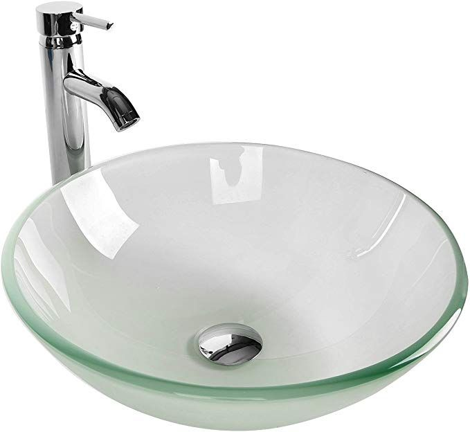 Photo of Tempered Glass Vessel Bathroom Vanity Sink Round Bowl, Chrome Faucet Pop-up Drain Combo, Frosted