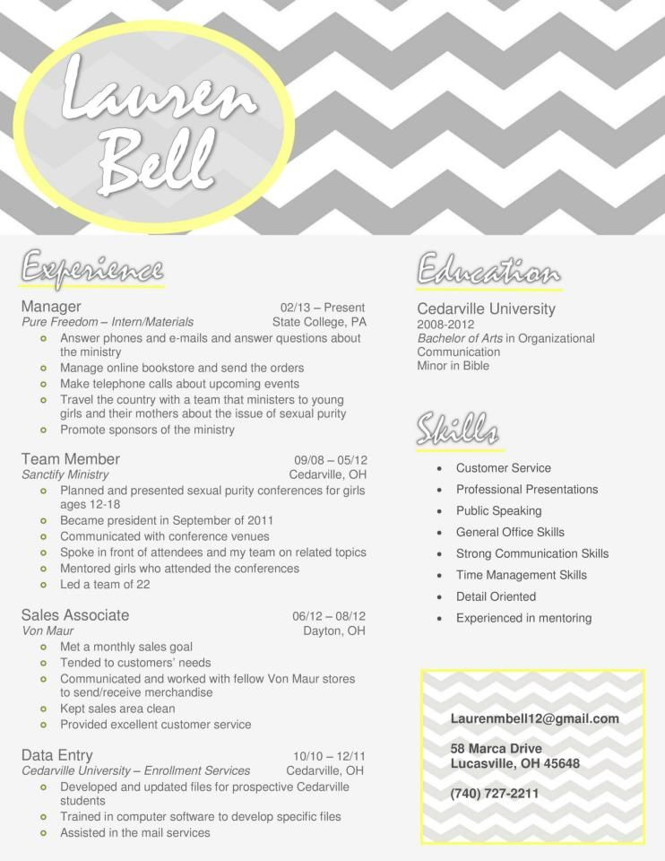 gray chevron resume