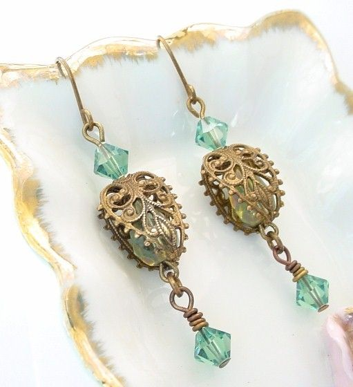 Czech Aqua Earrings