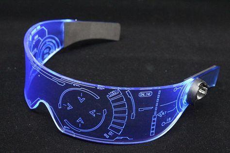 La Visera Original Cyberpunk Cyber Goth Iron Man J A R V I S 2 0 Neon Azul Cyberpunk Neon Azul Tecnologia Futurista