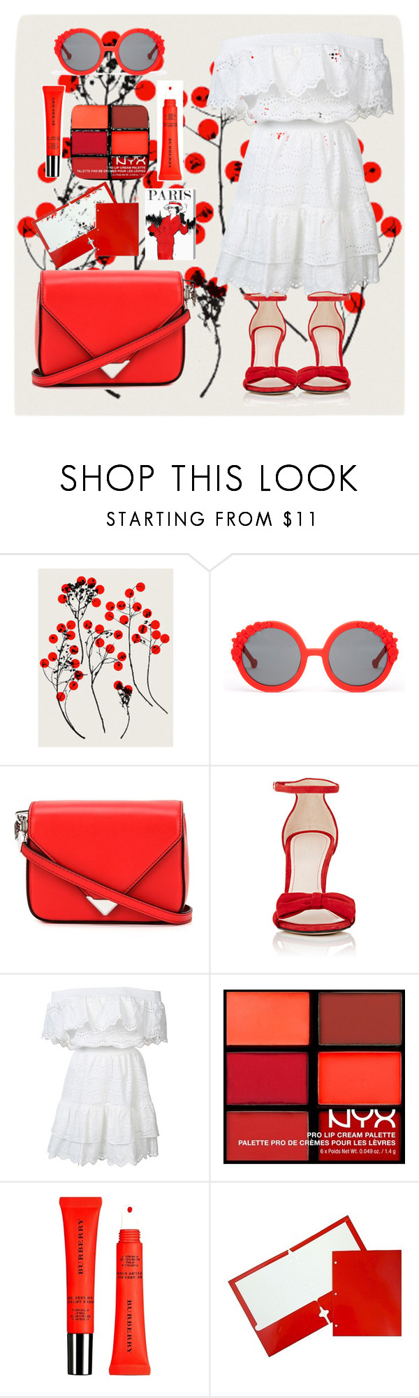 """Spring loves red"" by loustjohn ❤ liked on Polyvore featuring Preen, Alexander Wang, Barneys New York, LoveShackFancy, NYX, Burberry, JAM Paper & Envelope and Oliver Gal Artist Co."