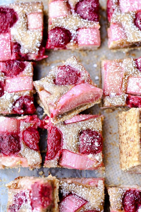 Raspberry Rhubarb Almond Bars Gluten Free Paleo Recipe