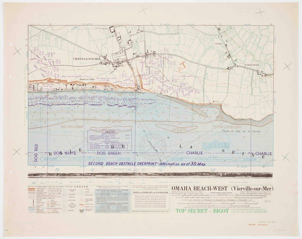 This map of Omaha Beach West alerted the 1st and 29th U.S. ...