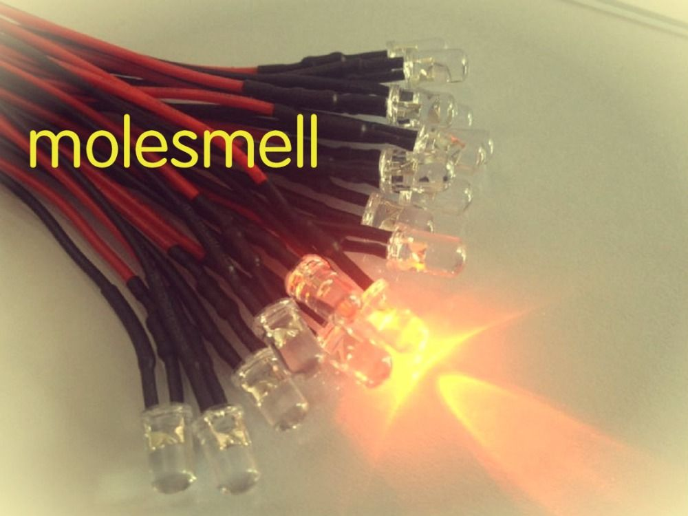50pcs 5mm 24v Orange Water Clear Round Led Lamp Light Set Pre