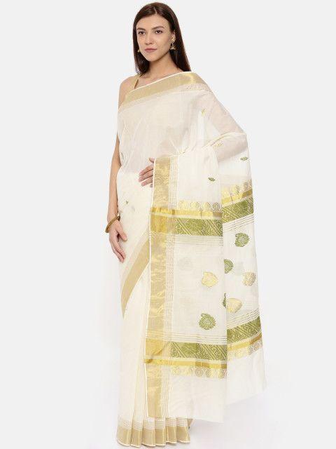 Buy The Chennai Silks Off White Pure Cotton Woven Design ...