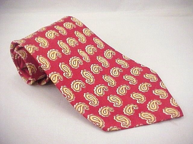 1940s Red Yel Orange Paisley Neck Tie Rockabilly GollerStein Milwaukee Union Lab