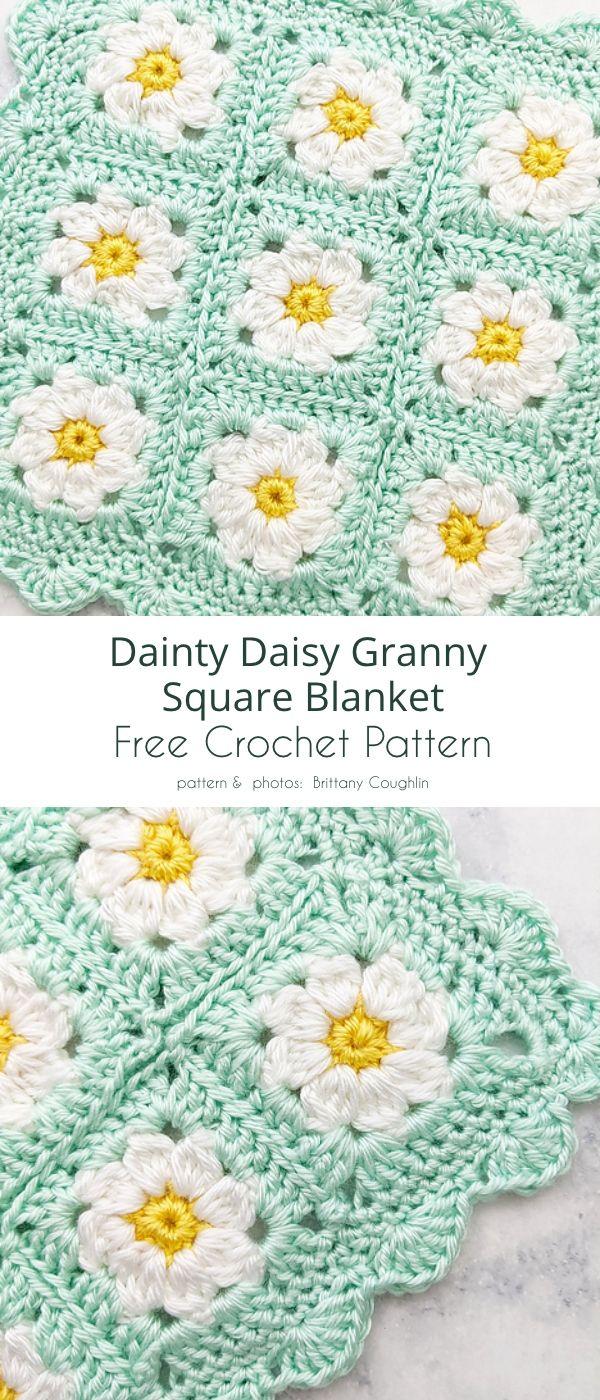 Ditsy Daisy Granny Free Crochet Patterns