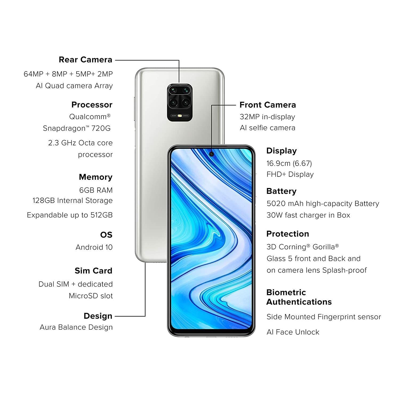 Redmi Note 9 Pro Max Glacier White 6gb Ram 128gb Storage In 2020 Latest Smartphones Note 9 All Smartphones