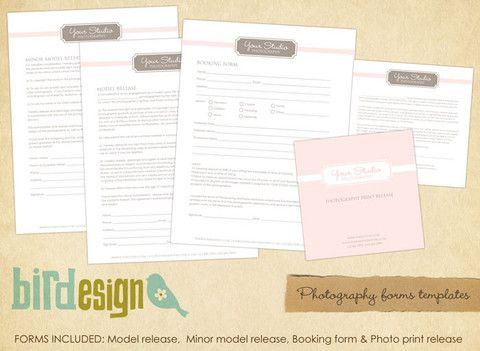 Basic Photography Forms Templates  Elegant Pink   Forms